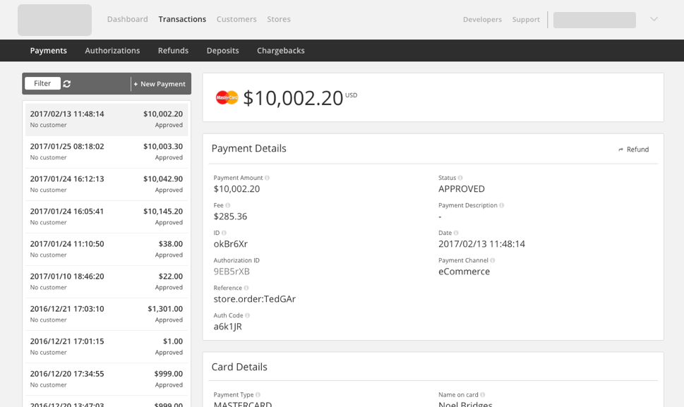 Payment view in i-bank e-Simplify